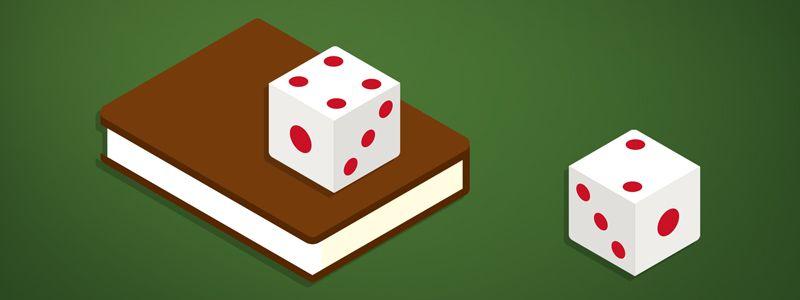 história do jogo, dados em um livro